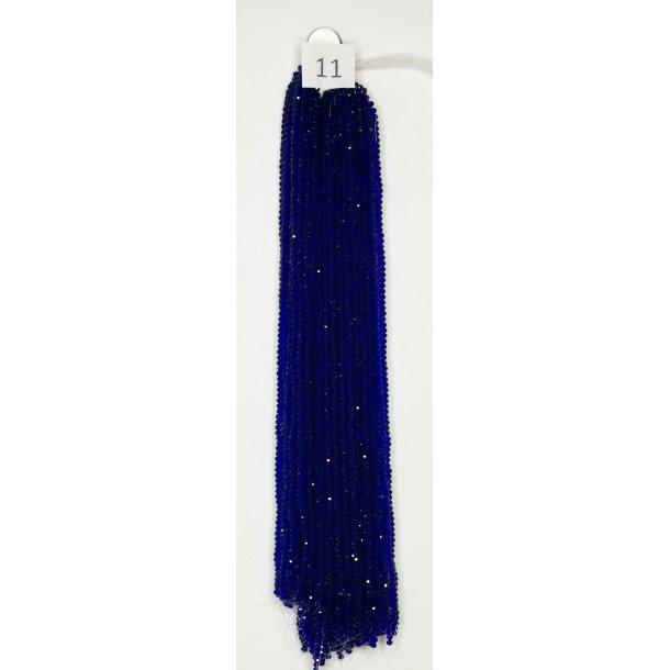 Nr. 11  Marineblå Facet slebne glas perler i 4 x 6 mm.