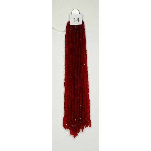 Nr. 14  Rød  Facet slebne glas perler i 4 x 6 mm.