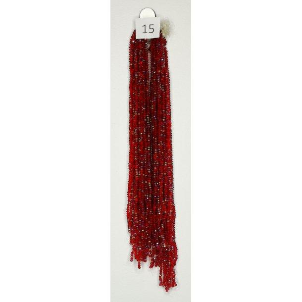 Nr. 15 Mørkerød med glimmer - Facet slebne glas perler i 4 x 6 mm.