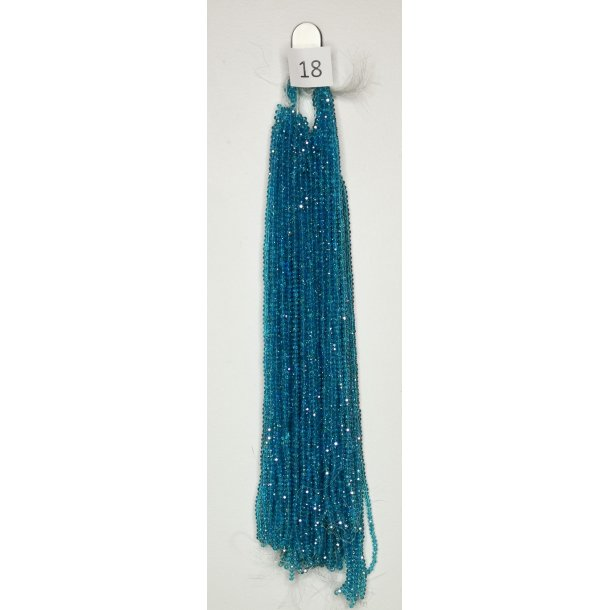 Nr. 18 Ocean Blå med Glimmer -  Facet slebne glas perler i 4 x 6 mm.