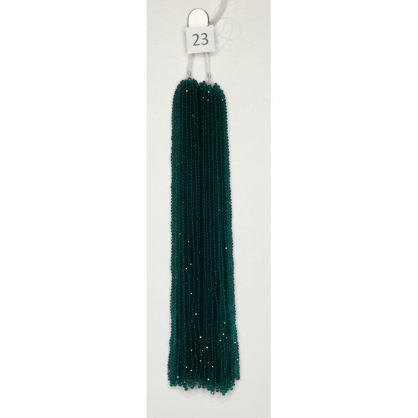 Nr. 23 Blågrøn  Facet slebne glas perler i 4 x 6 mm.