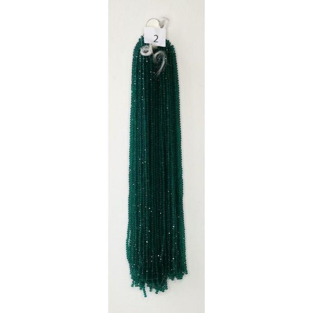 Nr. 2 Grøn  Facet slebne glas perler i 4 x 6 mm.