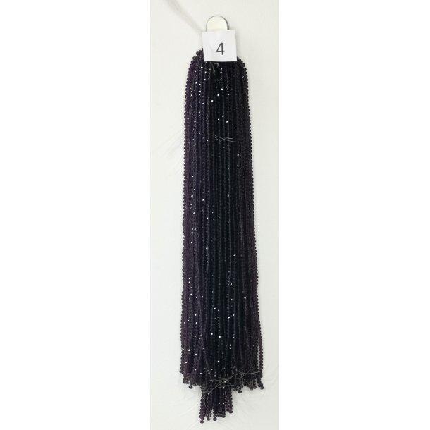 Nr. 4 Violet Facet slebne glas perler i 4 x 6 mm.