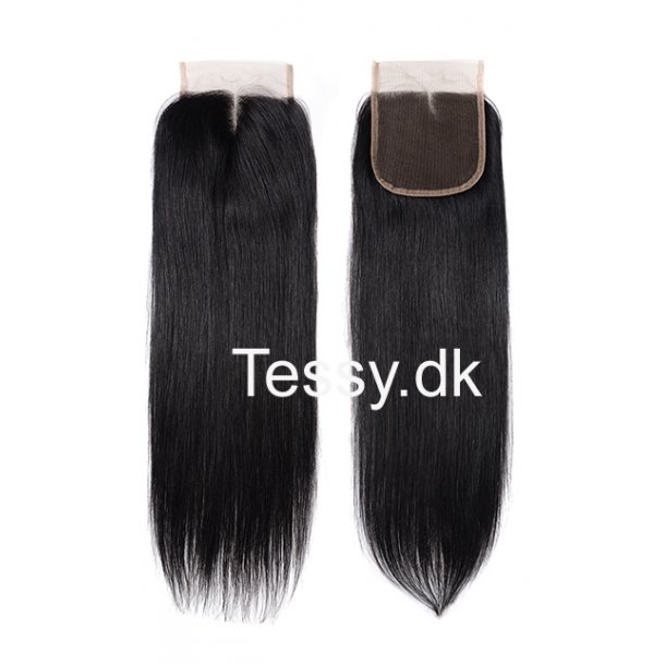 Straight Virgin Human Hair Swiss Lace Closure 20 inch 4*4 Inch Middle Part