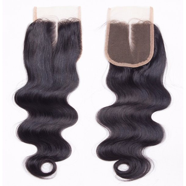 Body Wave Virgin Human Hair Swiss Lace Closure 20 inch 4*4 Inch Middle Part