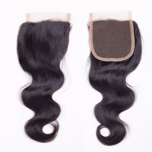 Body Wave Virgin Human Hair Swiss Lace Closure 20 inch 4*4 Inch Free Part