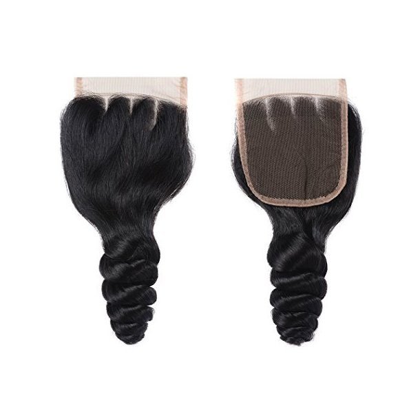 Loose Wave Virgin Human Hair Swiss Lace Closure 16 inch 4*4 Inch 3 Part