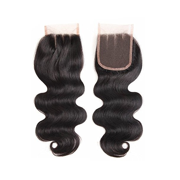 Body Wave Virgin Human Hair Swiss Lace Closure 20 inch 4*4 Inch 3 Part