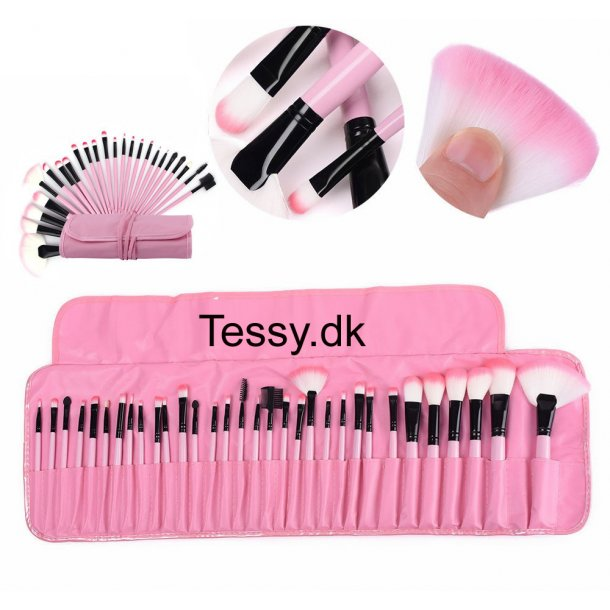 32pcs Makeup Beauty Cosmetics Brushes Set pink & black