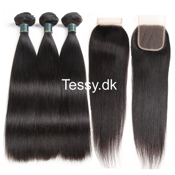 7A Peruvian Virgin Hair Straight 3Bundles With Lace Closure 24