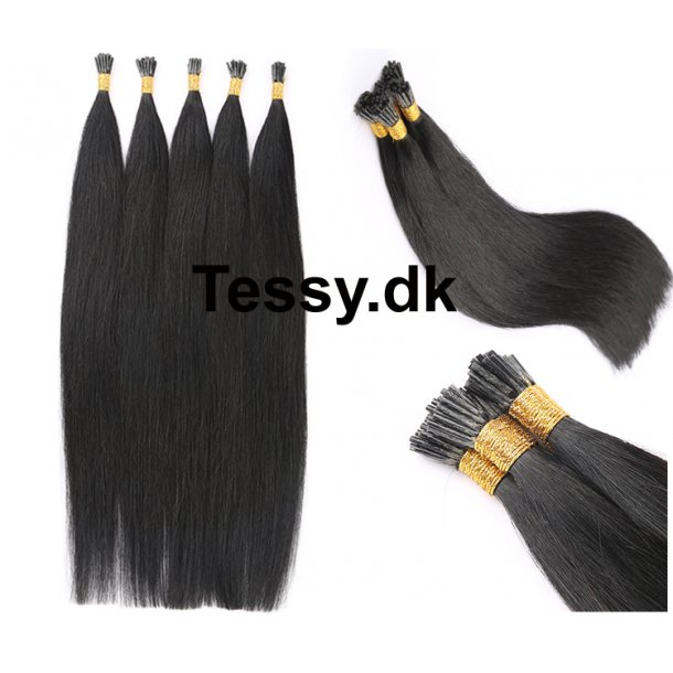I Tip Keratin Prebonded Hair Extensions Brazilian Human Hair straight Color 1B# 50cm ( 20 Inches )