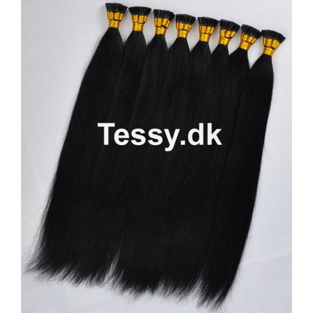 I Tip Keratin Prebonded Hair Extensions Brazilian Human Hair straight Color 1# 50cm ( 20 Inches )